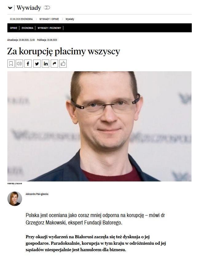 Za korupcję płacimy wszyscy. Grzegorz Makowski dla Rzeczpospolitej
