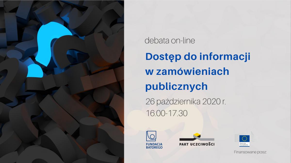 Zapraszamy! Dostęp do informacji w zamówieniach publicznych – debata on-line