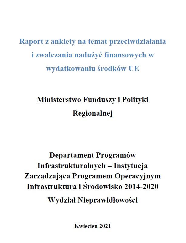 Raport z ankiety na temat przeciwdziałania i zwalczania nadużyć finansowych w wydatkowaniu środków UE