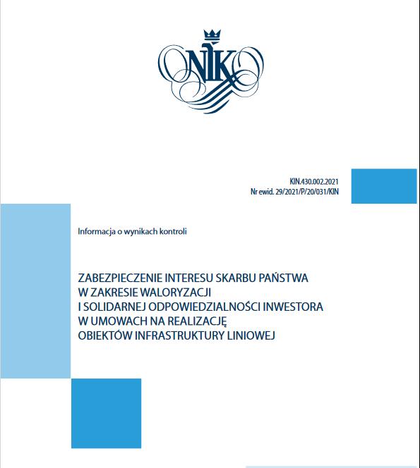 Raport NIK o problemie waloryzacji w umowach na realizację obiektów infrastruktury liniowej