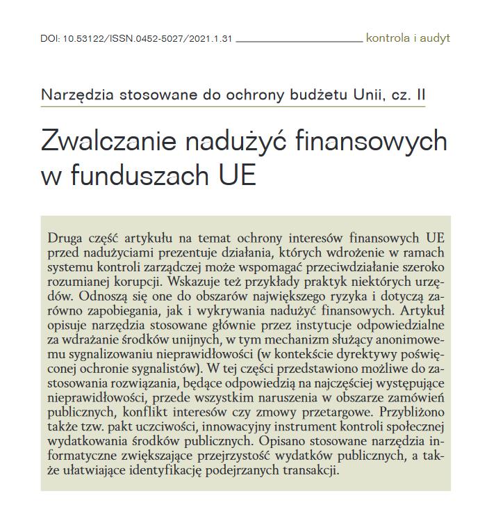 Zwalczanie nadużyć finansowych w funduszach Unii